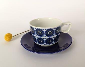 Retro Cup and saucer-dark blue-Schönwald