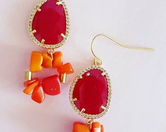Coral passion earrings  MJ007