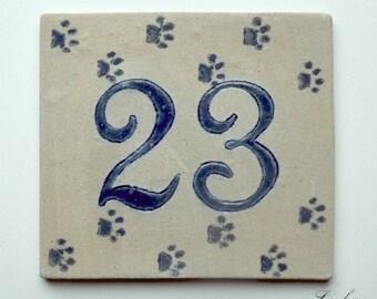 Stoneware number 23 bedroom entry door cat paws