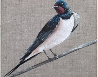 "Painting on linen ""swallow"", 20 x 20 cm"