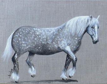 """Percheron"" painting, painting on canvas, 30 x 40 cm"