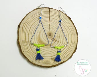 "Earrings ""on the wire"" blue and neon yellow"