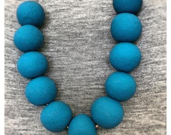 Midnight Blue Beaded Polymer Clay Necklace