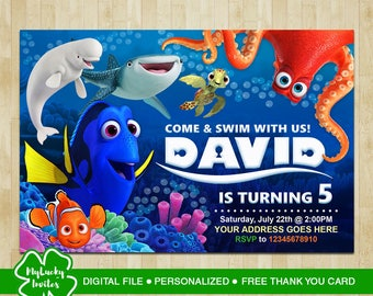 Finding Dory Invitation, Finding Dory Birthday, Finding Dory Party, Finding Dory