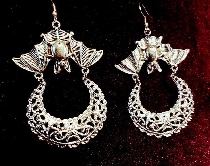 Upside Down Moon Bat Earrings - gothic goth bat earrings witch crecent moon wiccan