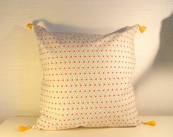 Cushion cover 40 X 40 cm - any white and Orange - 100% cotton