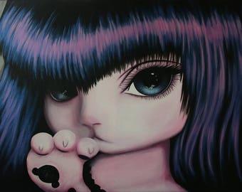 """Tableau Peinture acrylique personnage manga BJD chat """"Purple"""""""