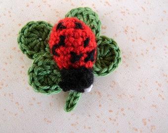 Lady bug on 4 leaf clover - applique crochet