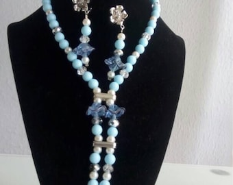 Powder Blue headed Necklace and earrings