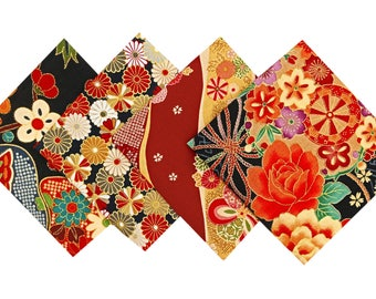 Set fabric - Japanese fabric - fabric flower - 4 Coupons fabric 24x25cm Lot - CP25
