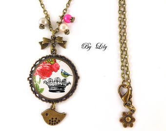 """""""Bird Crown and red flowers"""" necklace, retro pendant cabochons!"""