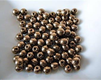 beads Golden glass Bohemian bronze galvanized 24 k gold set of 50 4 mm