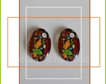 bright tropical flowers 2 cabochon oval glass 25 mm X 18 mm ref7