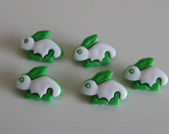 Set of 5 buttons green and White rabbits for knits sewing 21 mm X 15 mm