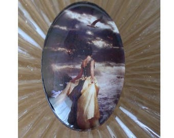30 mm X 40 mm glass cabochon 1 girl, the Sea Gull