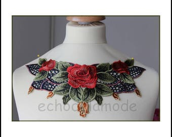 Embroidered flowers dress, top ref 723 customisation collar applique