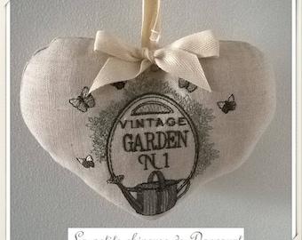 "Heart embroidered linen ""Vintage Garden"""