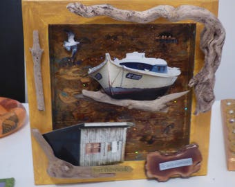 acrylic painting and collage 3D of Arcachon bird island