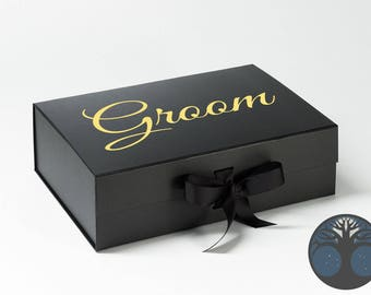 Black Grooms Box, Gold Chrome,Grooms Gift, Black and Gold,Wedding Gift