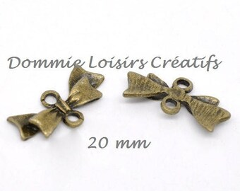 X 10 color bowtie connectors bronze 20 mm x 10mm