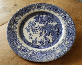 "Vintage English Ironstone ""Old Willow"" Plate"