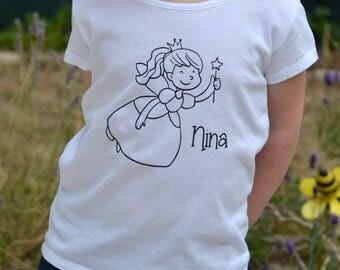 Custom Coloring shirt for kids - Custom shirt - Color shirt for kid - Fairy shirt - Fairy Shirt kid- Coloring Shirt - Birthday Girl Gift -