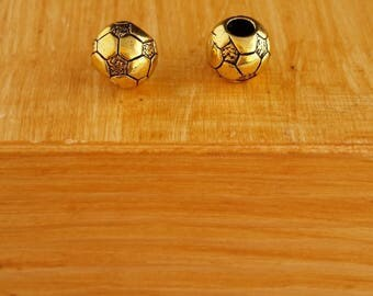bead spacer soccer ball, golden color, 10 x 11 mm