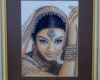 Embroidery picture of Indian girl