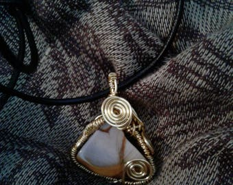 Gold agatized petrified wood pendant