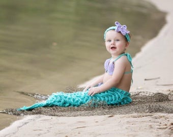 Mermaid costume, baby mermaid outfit, toddler mermaid outfit, mermaid photo prop, mermaid tail, first birthday outfit, baby shower gift