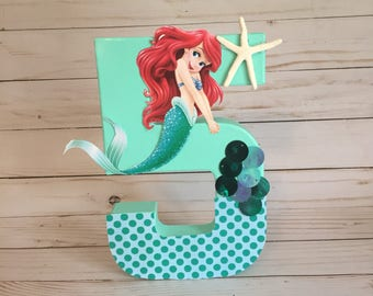 Mermaid birthday number, Ariel Birthday Centerpiece,  mermaid birthday, Little Mermaid birthday, Ariel number, birthday number, ariel