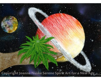 Cannabis Power Saturn Space Spray paint Art Print