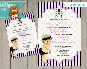Coco Chanel Birthday Invitation - Coco Chanel Baby Girl Birthday Invitation - Coco chanel 1st Birthday Invitation