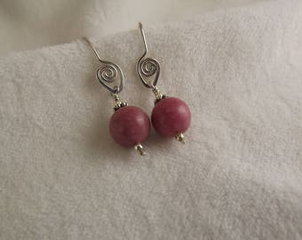 rhodonite and sterling silver drop earrings with hand-forged sterling silver earwires