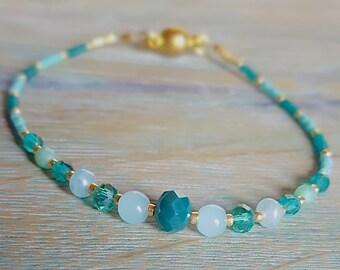 Elegant Crystal and Jade Beaded Bracelet