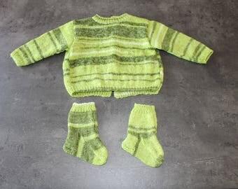 """baby sweater, socks """"mottled green"""" 6 months"""