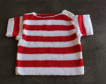 Red, white short sleeved sweater 3 months