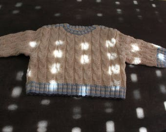 White, blue sweater with cables 12 months