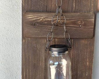 Rustic Wall Sconce Mason Jar Solar Fairy Light Decor