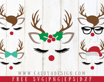 FREE SVG & PNG Link | Christmas Reindeer Faces Cut Files, svg, png, dxf, eps | Commercial Use | circuit, cameo silhouette | Holiday diy