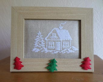 framed cross stitch: House and firs