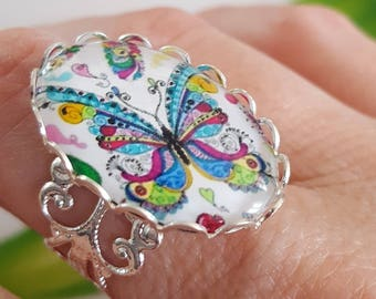 Butterfly glass Cabochon ring