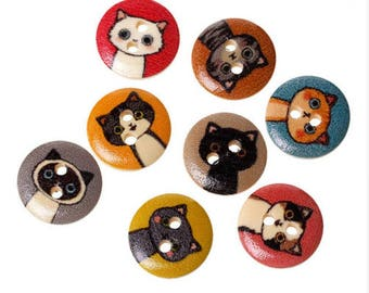 Set of 10 wooden cat buttons