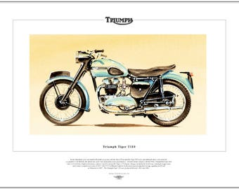 TRIUMPH TIGER T110 Classic Motorcycle Fine Art Print - 650cc OHV Twin Motorbike
