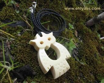 Bone carved OWL pendant