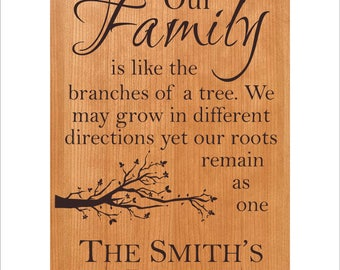 "Personalized Family Plaque ""Our Family is like the branches of a tree. We may grow in different directions yet our roots remain as one."""