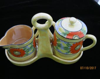 Vintage Pre WWII Japanese Lusterware Sugar, Creamer and Caddy