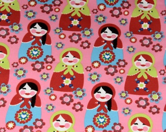 1 coupon 65x140cm - Russian dolls, matryoshka multicolored - fine jersey - Jersey largeur140cm