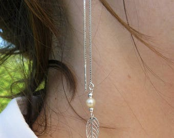 Venetian earrings silver Sterling, leaf, freshwater and Silver 925 charm