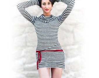 "pullover tunic ""Benibelt"" striped black and white"